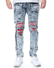 Men - Distressed Wash Denim Jeans