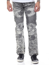 Basic Essentials - Distressed Moto Acid - Washed Denim Jeans