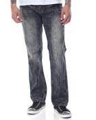 Slim - Straight Acid Washed Crinkled Denim Jeans