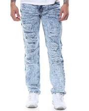 Basic Essentials - Distressed Acid - Washed Denim Jeans