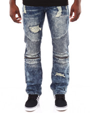 Basic Essentials - Moto Acid - Washed Denim Jeans