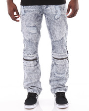 Jeans & Pants - Moto Acid - Washed Denim Jeans