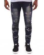 Men - Zipper Leg Ripped Cropped Jeans