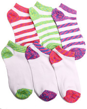 Women - Bright Space Dye/ Stripes 6Pk Low Cut Socks