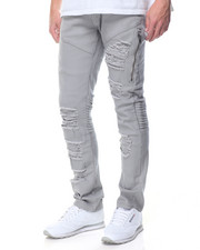 Flysociety - Twill Zipper Biker Pants