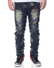 Men - Ruched - Leg Splatter - Wash Denim Jeans