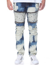 Jeans & Pants - Quilted - Leg Washed Denim Jeans