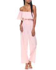 Jumpsuits - One Shoulder Ruffle Jumpsuit