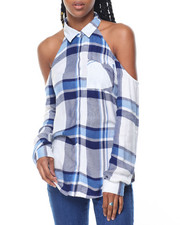 Fashion Lab - Rayon Plaid Cold Shoulder Shirt