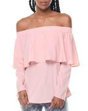 Fashion Lab - Off Shoulder Ruffle Front Tie Back Top