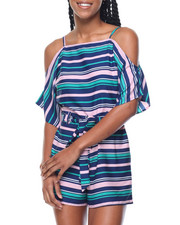 Women - Stripe Cold Shoulder Self Belt Romper