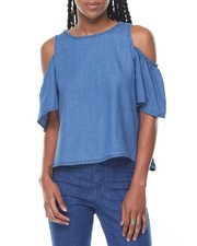 Fashion Lab - Denim Cold Shoulder Open Tie Back Top
