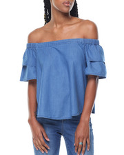 Fashion Lab - Denim Elastic Off-Shoulder Tiered Sleeve Top