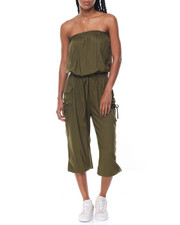Fashion Lab - Strapless Drawstring Waist Cargo Jumpsuit