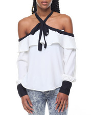 Fashion Lab - Georgette Ruffled Cold Shoulder Blouse
