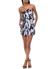 Jumpsuits - Abstract Print Tie Front Romper