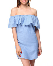 Dresses - Striped Off Shoulder Ruffles Chambray Dress