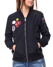 Fashion Lab - Force Badged Bomber Jacket W/Patches
