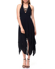 Dresses - Gauze Halter Shark Bite Smocked Back Dress