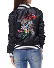 Fashion Lab - Love Bird Bomber Jacket W/Embroidery