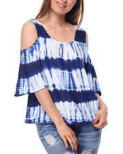 Fashion Lab - Tie Dye 3/4 Sleeve Cold Shoulder Top