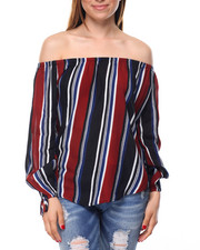 Fashion Lab - Printed Stripe Off Shoulder Tie Sleeves Top