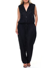 Fashion Lab - Utility Sleeveless Button Down Jumpsuit (Plus)