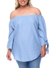 Fashion Tops - Off Shoulder Chambray Tie Sleeves Top (Plus)