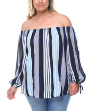 Fashion Tops - Printed Stripe Off Shoulder Tie Sleeves Top (Plus)