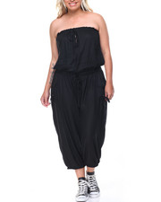 Women - Strapless Drawstring Waist Cargo Jumpsuit (Plus)
