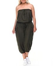 Fashion Lab - Strapless Drawstring Waist Cargo Jumpsuit (Plus)