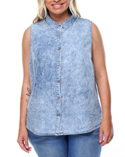 Cotton Express - Hi-Low Hem Lace Insert Back Shirt (Plus)