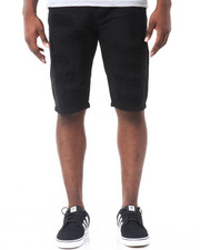 Men - Monochrome Rip - And - Repair Denim Shorts