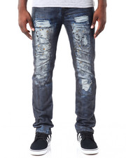 Men - Oil Print Slim - Straight Rip - And- Repair Denim Jeans