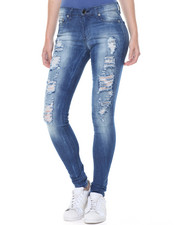 Jeans - Frontal Destructed Sandblasted Skinny Jean