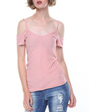 Fashion Lab - Miter Short Sleeve Cold Shoulder Double V-Neck Tee