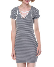 Dresses - Clair Stripe 2x2 Rib Dress W/Strings