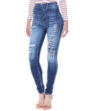 Jeans - Hi Waisted Paint Splatter Destructed Skinny Jean