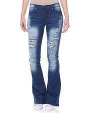 Women - Destructed Sandblasted Flared Leg Skinny Jean