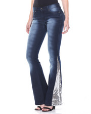 Women - Sandblasted Sequin Flared Inserts Stretch Jean