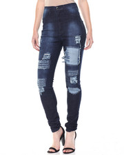 Jeans - Hi Waisted Torn Patches Skinny Jean