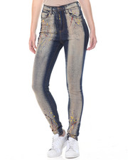 Women - Hi Waisted Paint Splatter Sandblasted Skinny Jean