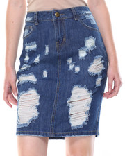 Skirts - Hi-Low Hem Destructed Denim Skirt