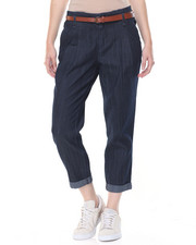 Women - Belted Denim Rol-up l Capri