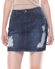 Women - Destructed Denim Mini Skirt