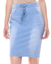 Fashion Lab - Drawstring Knit Denim Skirt