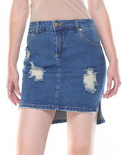 Women - Hi-Low Heavy Destruction Denim Skirt