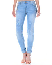 Women - Destructed Patch Cuffed Skinny Jean