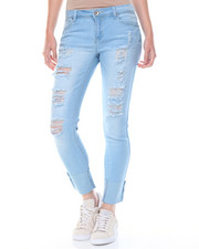 Women - Destructed Cuffed Stretch Skinny Jean