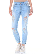Women - Buttlifter Destructed Cuffed Skinny Jean